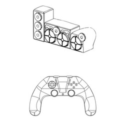3d model of speaker system and joystick on a white vector