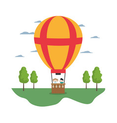 Air balloon cute entertainment with children vector