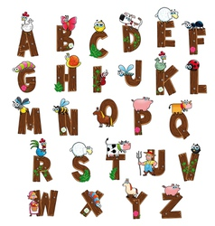 Alphabet with animals and farmers vector