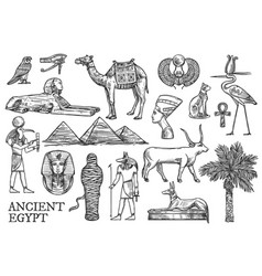 ancient egypt icons gods and landmark sketches vector image