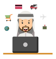 arab with laptop on white background vector image