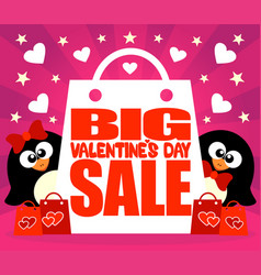 big sale valentines day card with penguins vector image
