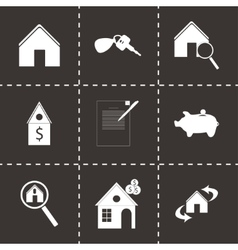 black real estate icons set vector image vector image