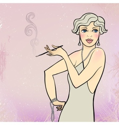 Blonde flapper girl vector