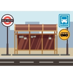 Bus stop with urban cityscape vector