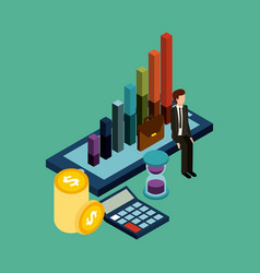 businessman money time mobile with graph financial vector image