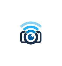 Camera wifi logo icon design vector