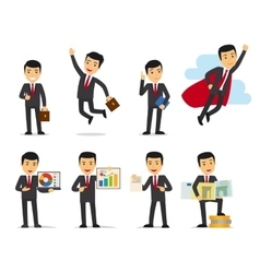 Cartoon businessman poses vector