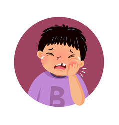 Cartoon fat boy suffering from toothache vector