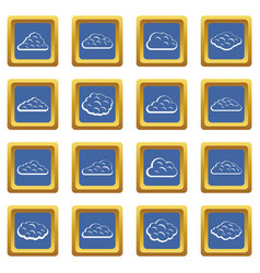 clouds icons set blue vector image