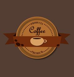 Coffee round design in vintage outline hand drawn vector