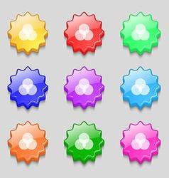 Color scheme icon sign Symbols on nine wavy vector