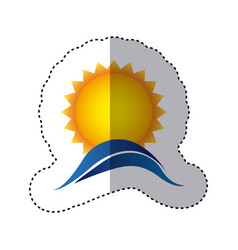 Color sticker with sun over sea waves vector