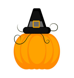 colored pumpkin with a pilgrim hat vector image