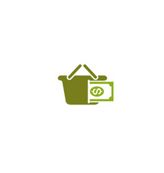 creative basket dollar logo design symbol vector image