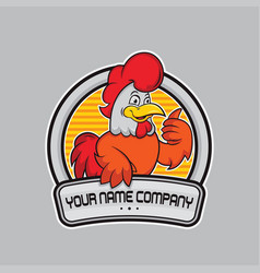 design chicken logo delicious vector image