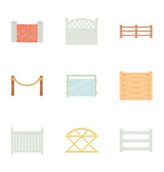 different fence icons set cartoon style vector image vector image