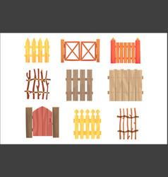 different garden wooden fences and gates set vector image