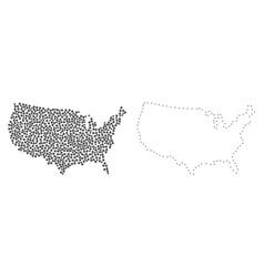 Dot contour map of usa vector