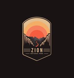 Emblem patch logo zion national park vector