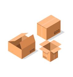 Empty postal cardboard boxes icon set vector