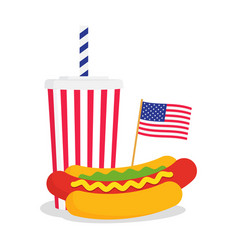 fast food banner with american flag and hot dog vector image