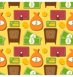 Finance seamless pattern with objects in flat vector image