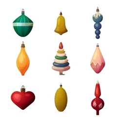 fir-tree decoration baubles and ornament 2017 vector image