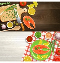 Flat Lay Cooking 2 Banners Set vector