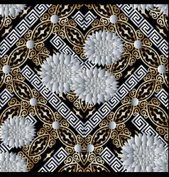 Floral 3d seamless pattern vintage background vector