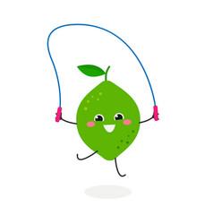 funny cute cartoon lime vector image
