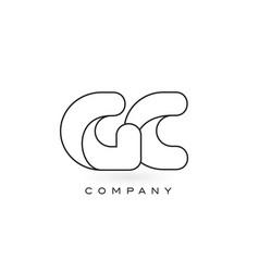 gc monogram letter logo with thin black monogram vector image