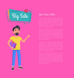 get your gifts big sale poster man holds box vector image