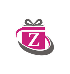 Gift box ribbon letter z vector