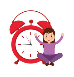 girl cartoon wake up clock alarm vector image