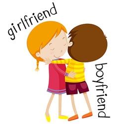 Girlfriend and boyfriend hugging vector