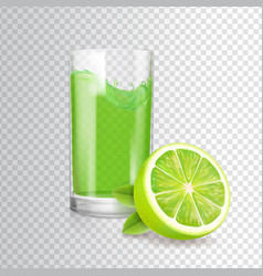 Glass of lime juice in glass mojito cocktail vector