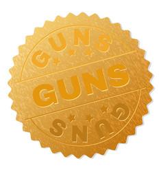 Golden guns medallion stamp vector
