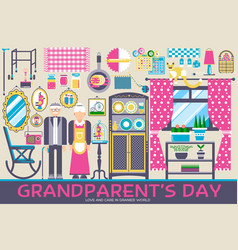 grannys day icons design set flat vector image