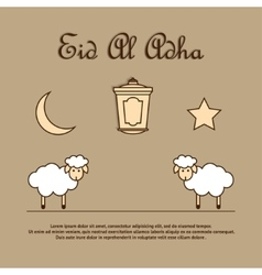 Greeting card template for Eid-Ul-Adha with sheep vector