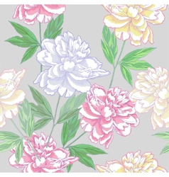 Grey Seamless pattern with peonies vector image
