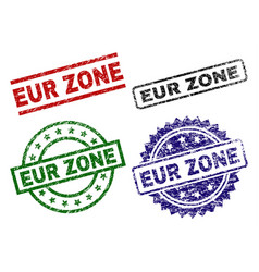 Grunge textured eur zone seal stamps vector