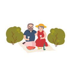 Happy elderly couple having romantic dinner vector