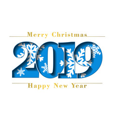 happy new year merry christmas card blue number vector image