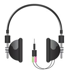 headphones black vector image vector image
