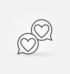 hearts in speech-bublle line icon like vector image