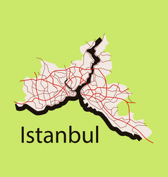 High quality map of istanbul flat with borders vector