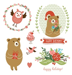 holiday clip art set cute animals vector image