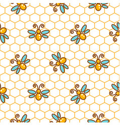 honeycomb pattern and bees line background vector image