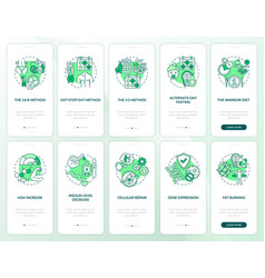 Intermittent fasting green onboarding mobile app vector